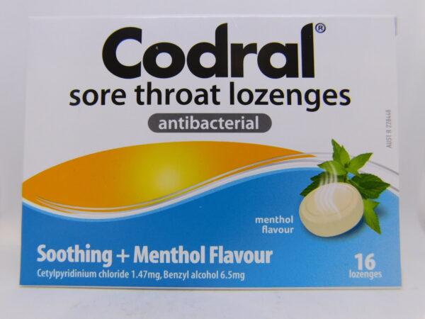 Codral Sore Throat Antibacterial Menthol Lozenges 16