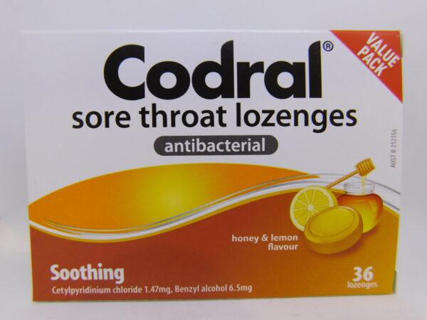 Codral Sore Throat Antibacterial Honey Lemon Lozenges 36
