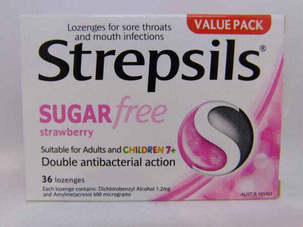 Strepsils Sugar Free Strawberry Lozenges 36