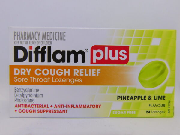 Difflam Plus Dry Cough Pineapple & lime Lozenges 24