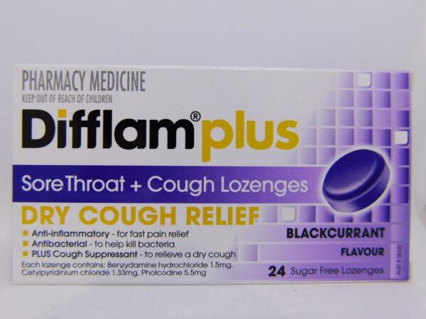 Diflam Plus Dry Cough Blachcurrant Lozenges 24