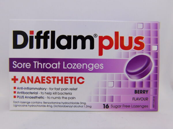 Difflam Plus Aneasthetic Lozenges Berry 24