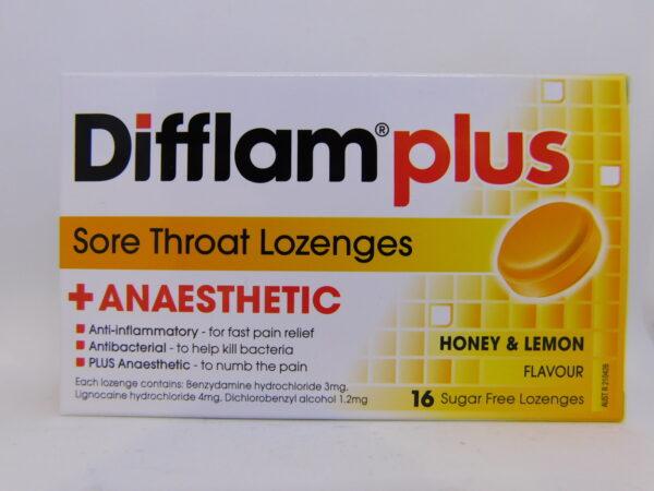 Difflam Plus Aneasthetic Lozenges Honey and Lemon 24
