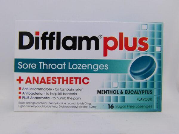 Difflam Plus Aneasthetic Lozenges MentEucalp 16