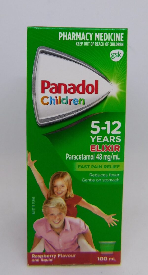 Panadol 5-12 Years Elixir 100mL Raspberry